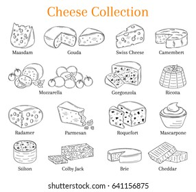 Vector sketch illustration of various types of cheese, Mozzarella, Swiss Cheese, Gouda, Roquefort, Parmesan, Cheddar, Gorgonzola , Mascarpone, Brie, Ricotta, Camembert  isolated on white background.