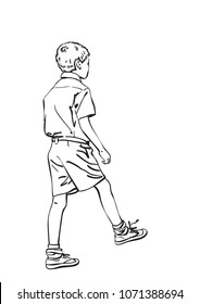 Vector sketch of indian boy in school uniform takes a step, Hand drawn linear illustration