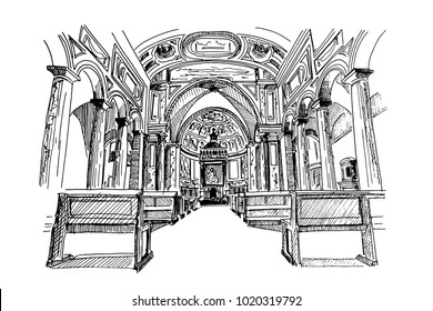 Vector sketch of interior of San Pietro in Vincoli (Saint Peter in Chains) church in Rome, Italy.