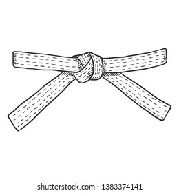Vector Sketch Karate Belt on White Background