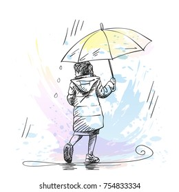 Vector sketch of little girl walking under umbrella in rain and looking back, Hand drawn illustration with hatched shades isolated on background of watercolor splash