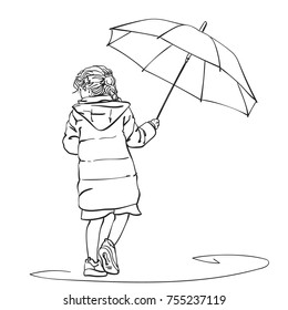 Vector sketch of little girl walking under umbrella in rain and looking back, Hand drawn linear illustration isolated on white background