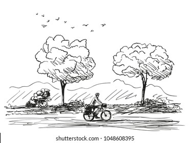Vector sketch of long distance cyclist travel around the world by bike, Hand drawn illustration