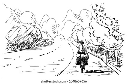 Vector sketch of long distance cyclist girl cycling on background of karst mountain landscape, Hand drawn illustration