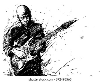 Vector sketch of a man with an electric guitar. Music poster background black and white illustration