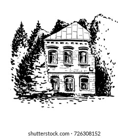 Vector sketch of mansion among the trees, hand drawn house at park