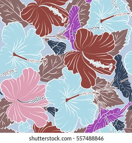 Vector sketch of many abstract multicolored flowers on a neutral background. Hand drawn seamless pattern flower illustration. Multicolor seamless abstract floral background.