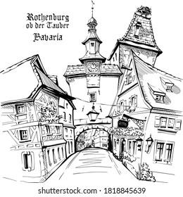 Vector sketch of Markusturm in medieval old town of Rothenburg ob der Tauber, Bavaria