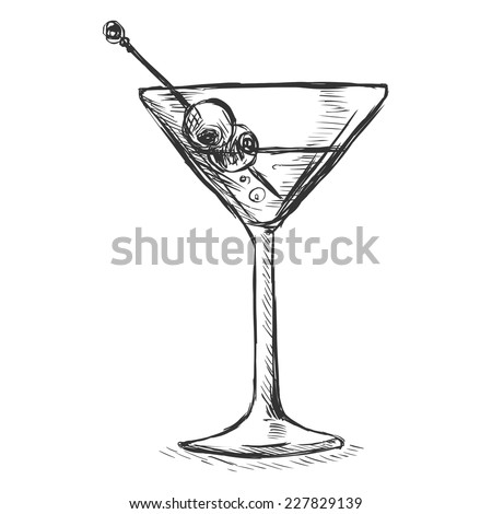 Vector Sketch Martini Glass Olives Stockvector Rechtenvrij