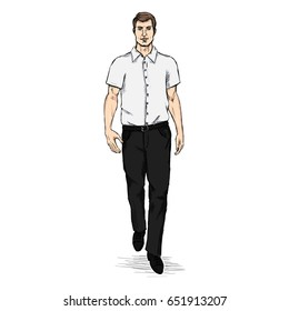 Vector Sketch Men Model in Short Sleeve Shirt. Business dress code.