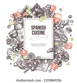 Vector sketch monochrome spanish cuisine dishes background. Mediterranean food set. Black and white hand drawn illustration with meat, wine, jamon, vegetables, salads olive