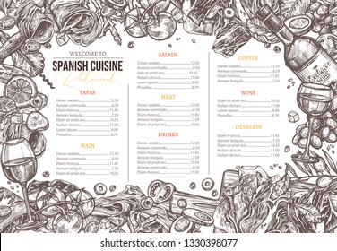 Vector sketch monochrome spanish cuisine dishes background. Design and template for menu with hand drawn illustration of meat, wine, jamon, vegetables, salads olive. Mediterranean food set