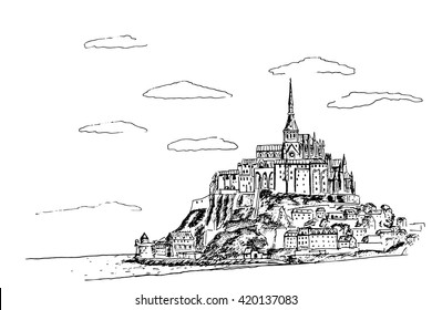 Vector sketch of Mont Saint Michel. Normandy, France.
