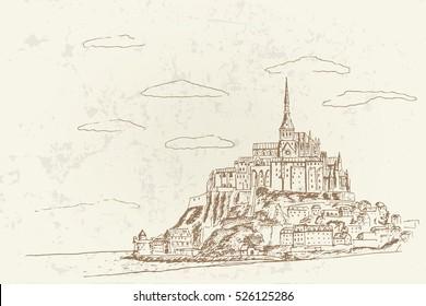 Vector sketch of Mont Saint Michel. Normandy, France. Retro style.
