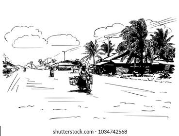 Vector sketch of motorcyclist on wide rural road in Cambodian village, Hand drawn illustration