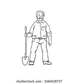 Vector sketch oldster farmer or gardener. Man worker with shovel. Drawn contour cartoon character peasant working in garden. Isolated on white ground illustration.
