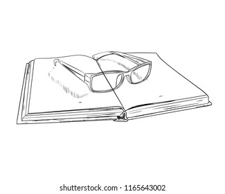 Vector sketch of open book and glasses. Hand drawn illustration.