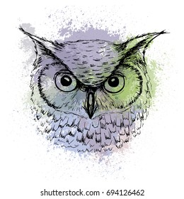 Vector sketch of owl head on a background of colored watercolor stains, a design for a T-shirt