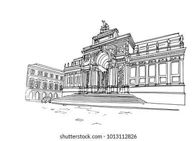 Vector sketch of Palazzo delle Esposizioni, Rome, Italy
