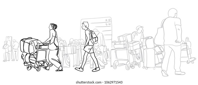 Vector sketch of passenger and traveler walking in the main terminal for boarding time in International Airport for travel. mother with her son walking forward with luggage.