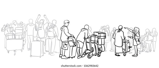 Vector sketch of passenger and traveler walking in the main terminal for boarding time in International Airport for travel.