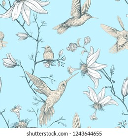 Vector sketch pattern with birds and flowers. Colorful flower design for web, wrapping paper, phone cover, textile, fabric