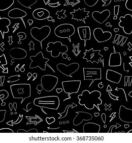 Vector sketch pattern with white speech bubbles on black background. Seamless pattern can be used for wallpaper, pattern fills, web page background,surface textures.
