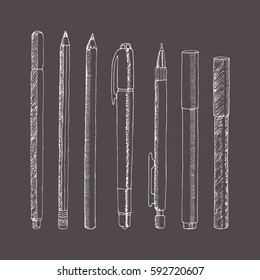 Vector sketch of pencils and pens. Hand drawn illustration. Collection in doodle style.