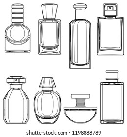 Vector Sketch Perfume Bottles isolated on white background