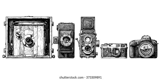 Vector sketch of photo cameras evolution set in ink hand drawn style.  view, folding, TLR, rangefinder, SLR.