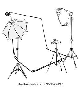 Vector sketch photo studio.