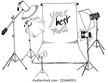 vector sketch photo studio, white background