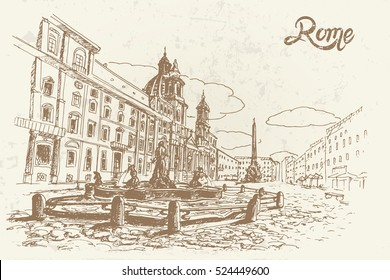 vector sketch of Piazza Navona, Rome. Italy.