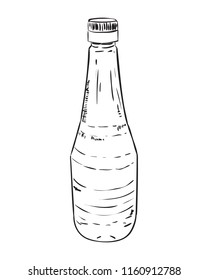Vector sketch of plastic bottle. Hand draw illustration isolated on white background