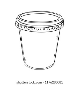 Vector sketch of plastic cup with cap. Hand drawn illustration.