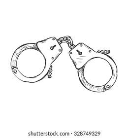 Vector Sketch Police Handcuffs