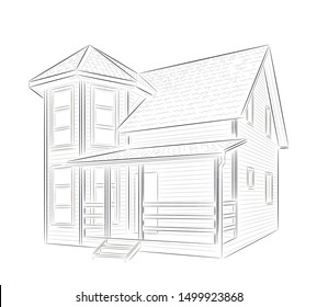 Vector. Sketch of a private country house