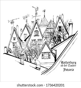 Vector sketch of quaint facades and roofs of medieval old town, Rothenburg ob der Tauber, Bavaria, Germany