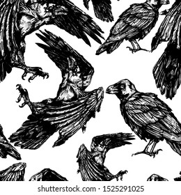 Vector sketch of raven. Illustration of corbie. Seamless pattern