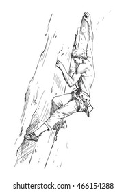 Vector sketch of rocky climbing. Extreme sport