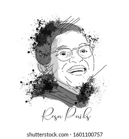 Vector sketch of Rosa parks  in Laughing posture.