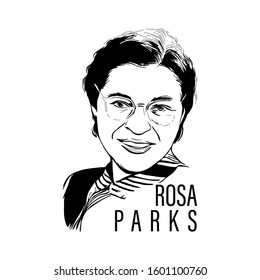 Vector sketch of Rosa parks  in Laughing posture.the first lady of civil rights