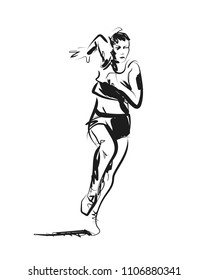 Vector sketch of running woman