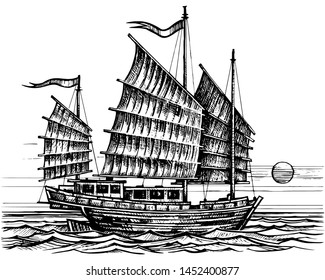 Vector sketch sailing chinese junk ship in the sea in ink line style. Hand drawn sketched sailing eastern boat.