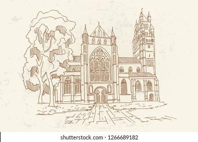 Vector sketch of Saint-Salvator Cathedral ( Sint-Salvatorskathedraal ), the main church of Brugge Belgium