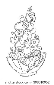 Vector sketch of salad with tomatoes, cucumbers, spinach, onions, olives, peas,beans, lettuce, isolated on a white background. Hand drawn illustration