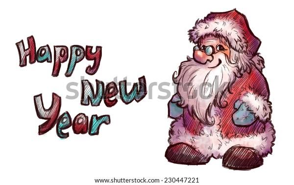Vector sketch of Santa Claus. Christmas illustration.