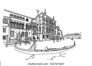 Vector sketch of scene in Venice with channel, gondola and architecture.