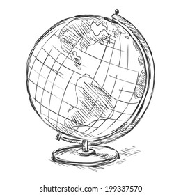 Vector Sketch School Geographical Globe