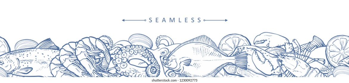 vector sketch seafood seamless pattern with monochrome flatfish, trout, lopster and octopus with lemon slice. Hand drawn seafood delicacy, restaurant and marine cuisine cafe menu, packaging design.
